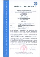 Certifikát výrobku dle NV 163/2002 Sb
